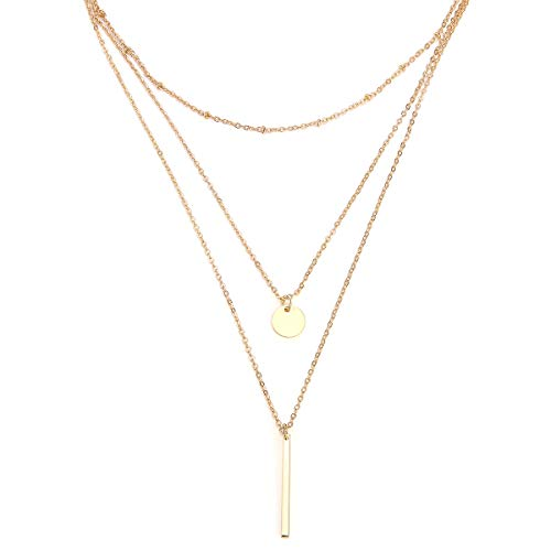 Zealmer Women Layered Disc Necklace Metal Chain Pendant Bar Necklace Gold Color