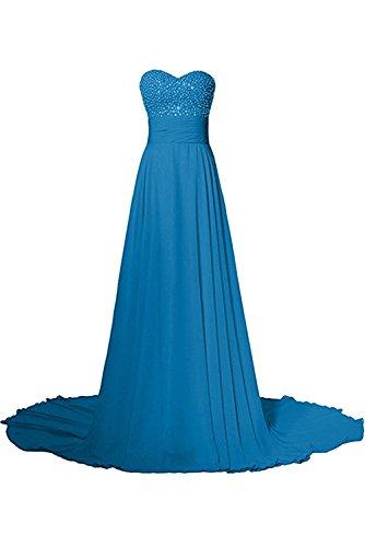 Damen Steine Liebling Ballkleider Blau Festkleider Lang Abendkleider Schleppe Ivydressing Herzform qFfxwZfa