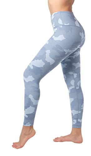 Yogalicious High Waist Nude Tech V-Back Camo Printed Ankle Leggings - Winter Sky Camo - Small