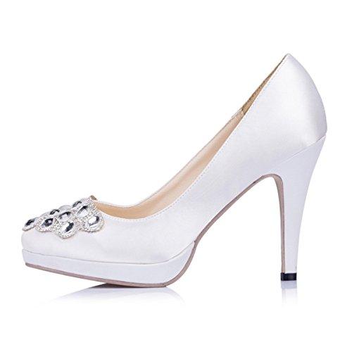 Kevin Modische Fashion Hochzeitsschuhe Damen Weiß rUqrApnwx