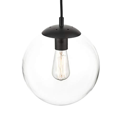 Light Society Zeno Globe Pendant, Clear Glass with Black Finish, Contemporary Mid Century Modern Style Lighting Fixture (LS-C175-BK-CL)