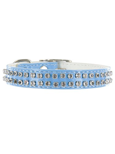 "Rodeo Drive Rhinestone Dog or Cat Collar with Bell by Kakadu Pet, Small, 1/2"" x 14"", Blue"
