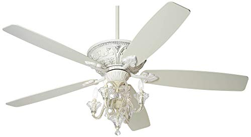 60 Montego Chic Ceiling Fan with Light LED Dimmable Crystal Chandelier Rubbed White for Living Room Kitchen Bedroom Family Dining – Casa Vieja
