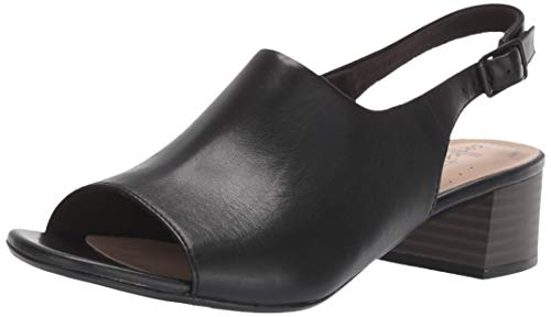 CLARKS Women's Elisa Kristie Heeled Sandal, Black Leather, 070 W US
