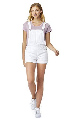 WallFlower Women's Juniors Denim Shortalls in Bright White, Small