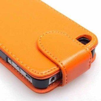 Super Best di Apple iPhone 4 4S arancione di vibrazione dellunità di elaborazione copertura di cuoio per Apple iPhone 4 4S