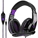 2017 New Updated Gaming Headphones,A9 3.5mm Stereo Sound Wired Professional Computer Gaming Headset with Microphone,Noise Isolating Volume Control for Pc/Mac/Ps4/Phone/Table(Black Purple)
