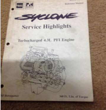 1990 GMC Syclone Service Highlights Manual TURBOCHARGED TURBO 4.3L PFI ENGINE