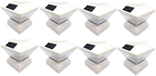 8-Pack Outdoor Garden 4 x 4 Solar LED Post Deck Cap Square Fence Light Landscape Lamp Lawn PVC Vinyl Wood Sunlight White