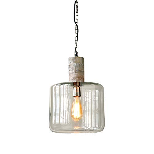 Creative Co-op Round Clear Glass & Mango Wood Hanging Pendant Light ()