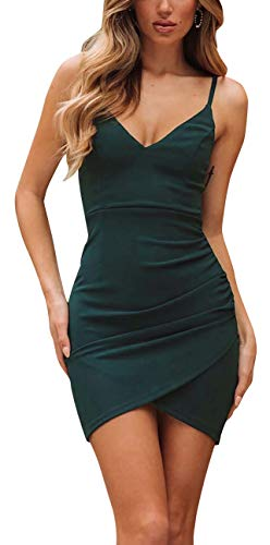 PinUp Angel Green Women's V-Neck Sheath Casual Party Bodycon Cami Spaghetti Strap Wrap Dress
