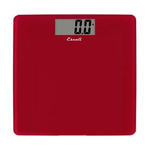 Escali B200RR Glass Platform Bathroom Body Scale, Low Profile, LCD Digital Display, 440lb Capacity, Rio Red ()