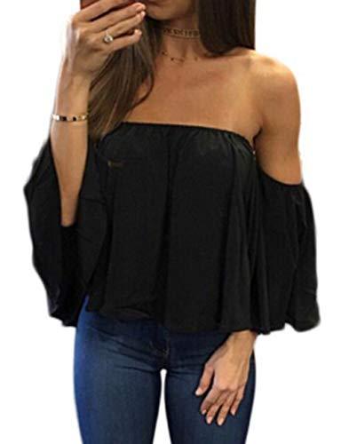 Kbook Women's Off Shoulder Ruffles Short Sleeve Chiffon Blouses Casual Sexy Tube Tops Shirts Black