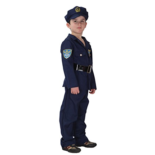 Spooktacular Kids' Police Officer Costume Set with Uniform & Hat, L - 70s School Girl Costume