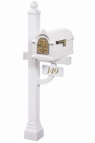Gaines - Fleur de Lis Keystone Series Custom Mailbox Set (White/Polished Brass) (Gaines Deluxe Post)