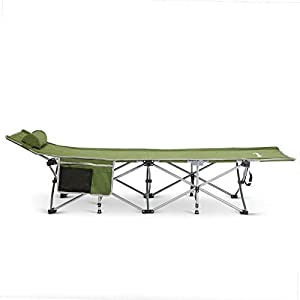 Alpcour Folding Camping Cot – Deluxe Collapsible Single Person Bed in a Bag w/Pillow for Indoor & Outdoor Use – Ultra Lightweight, Comfortable, Heavy Duty Design Holds Adults & Kids Up to 300 Lbs