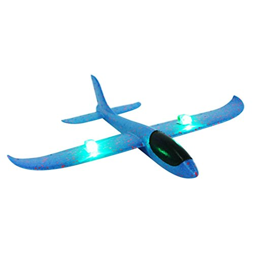 Funny Toy for Kids Baomabao Led Night Flying Aircraft Toy Foam Throwing Glider Airplane Inertia Hand Launch Airplane Model (Blue) ()