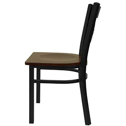 Modern Style Metal Dining Chairs School Bar Restaurant Commercial Seats X-Back Design Black Powder Coated Frame Finish Home Office Furniture - (1) Mahogany Wood Seat #2155