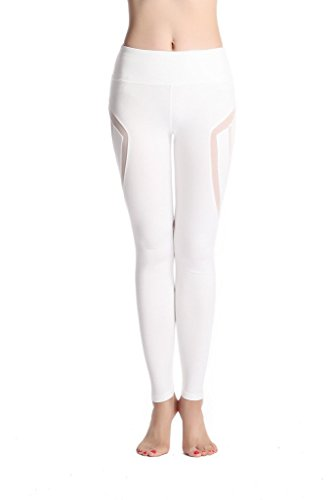 Lotsyle Women's Yoga Gym Athletic Pants Running Workout Leggings Spilicing Mesh White-M