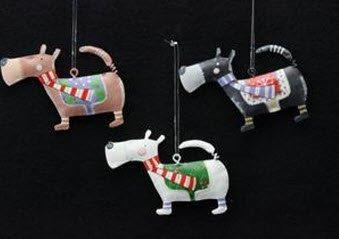 gisela graham set of 3 tin scottie dog christmas tree decorations - Scottie Dog Christmas Decorations