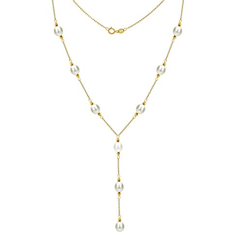 Lariat Tin Cup Station 14K Gold Chain Necklace Cultured freshwater White Pearl Jewelry for Women ()