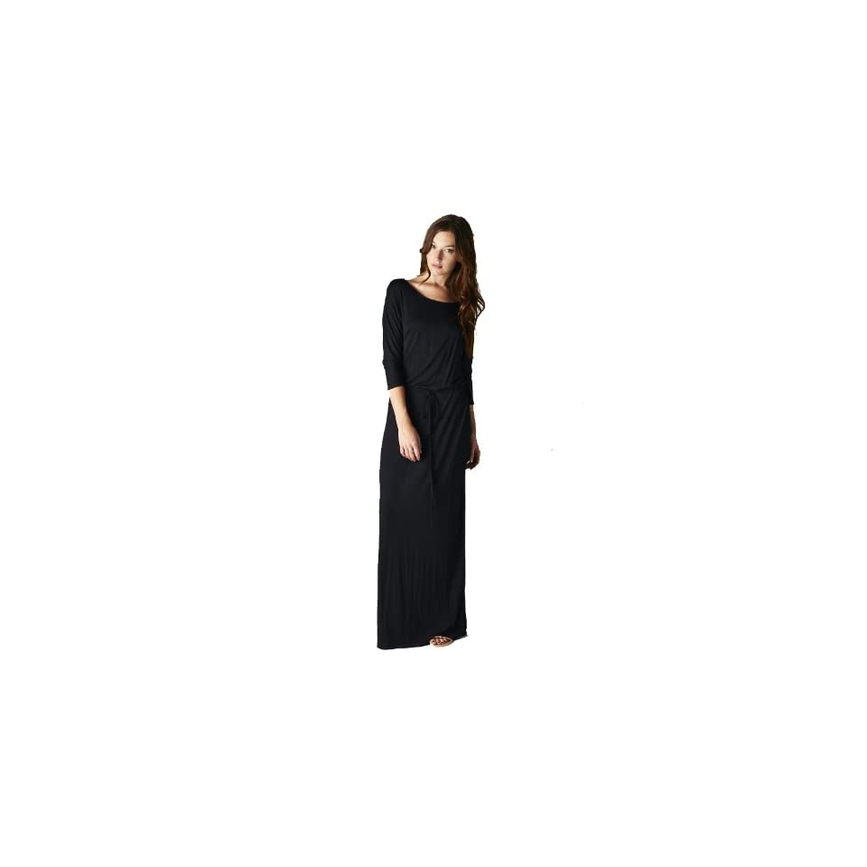 On Trend Women's Jersey Knit Long Maxi Dress Drawstring Belt (3XL, Navy)
