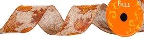 Fall Glitter Leaf Ribbon Fall Wired Burlap Leaves Ribbon (2.5