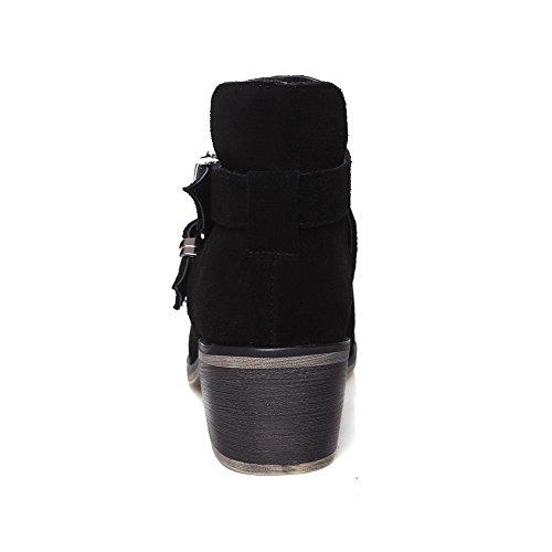 Amoonyfashion Ronde Neusluide Laarzen Met Gesloten Neus En Damesschoenen Met Metalen Gespen En Zwarte Zool