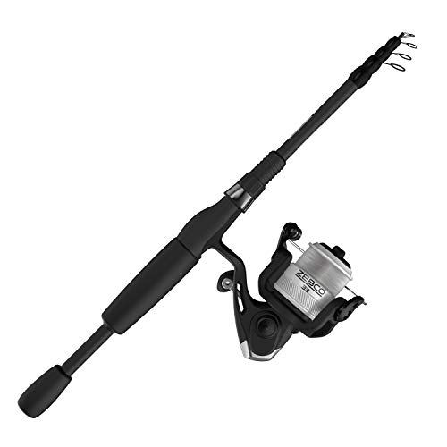 Zebco 33 Telescopic Spinning Reel and Fishing Rod Combo, Convenient Telescoping Rod with a Pro-Style Handle Grip and Quickset Anti-Reverse Fishing Reel