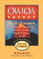 Ola Loa Energy Multivitamin Supplement, Orange, 30 Packets (Coq10 Fruit Tropical)