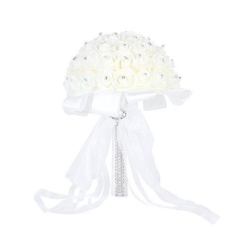 Wedding Bridal Bouquet, Febou Big Size Handmade Crystal Ribbon Rhinestone Wedding Bridesmaid Bouquet, Bridal Artificial Flowers for Wedding(White Big Size) - Flowers White Crystal