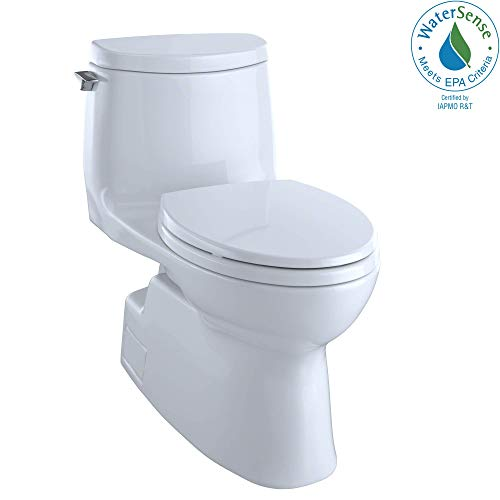 TOTO Carlyle II 1G One-Piece Elongated 1.0 GPF Universal Height Skirted Toilet with CEFIONTECT, Cotton White