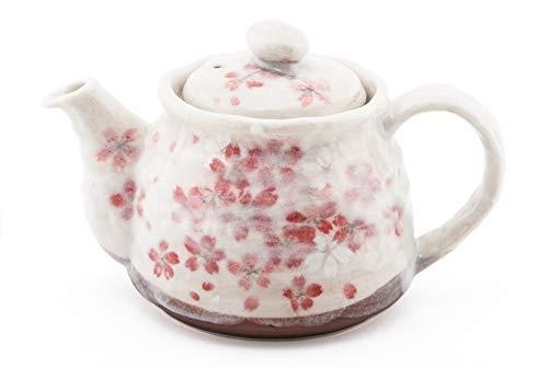 (Authentic Japanese Decorative Earthenware Tea Pot 18 Fl oz with Stainless Steel Strainer Afternoon Tea Teapot Textured Glaze Floral Design Handcrafted in Japan (Pink Sakura Tea Pot))