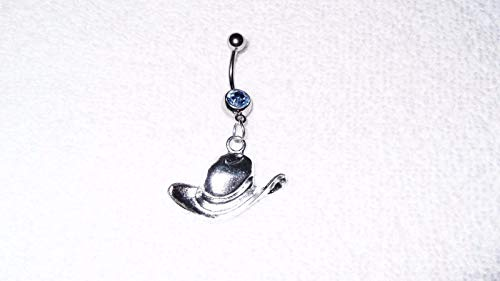 Cowboy Cowgirl Country Western Hat Charm Belly Button Navel Ring Body Jewelry #IS-522 (Belly Button Rings Western)