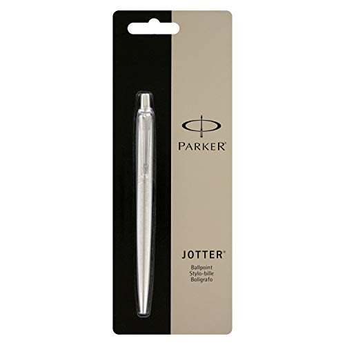 Parker Jotter Stainless Steel Ballpoint Pen, Medium Point, Black Ink