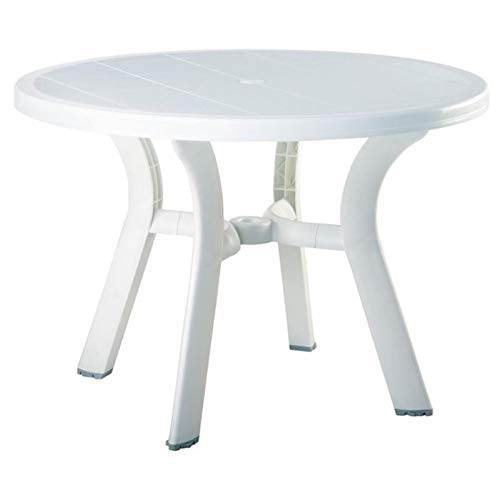 Pemberly Row 42 Round Resin Patio Dining Table in White, Commercial Grade