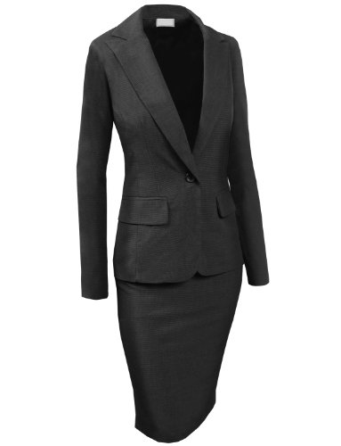 LE3NO Womens Fitted Classic Blazer And Skirt Suit Set