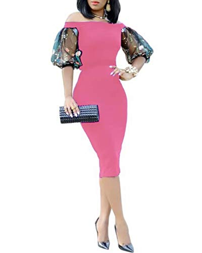 Net Formal Dress - Women's Embroidery Net Short Sleeve Off The Shoulder Elegant Evening Cocktail Bodycon Midi Sheath Dress Pink L