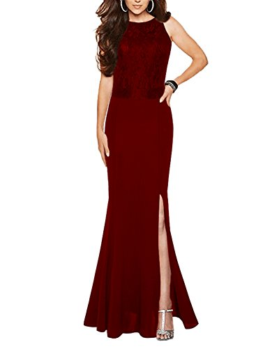 SYLVIEY Women's Halter Retro Lace Vintage Wedding Maxi Party Formal Long Dress (Large, Burgundy)