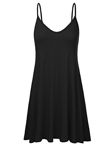 NINEXIS Women's Loose Fit Thin Strap Flared Dress BLACK - Baby Dress Spice