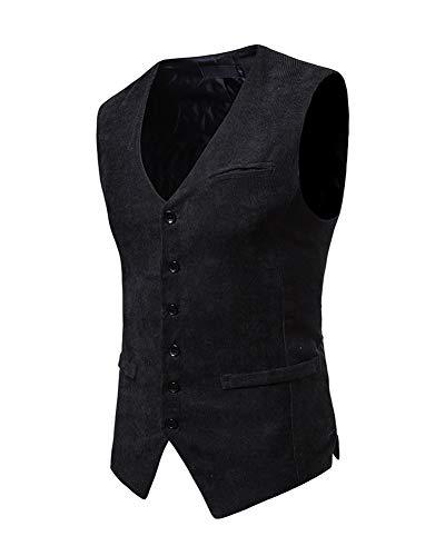 Hombre Sin Vestir Slim Blazers De Chaleco Negro Casual Manga Traje Fit qWnRx0UAq7