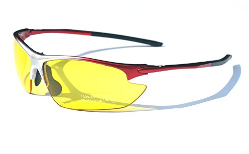 Black & Red Ladgecom Sports Sunglasses with Smoke Lenses and Spare Yellow Lens with Case and Cloth 9MJzI1paq