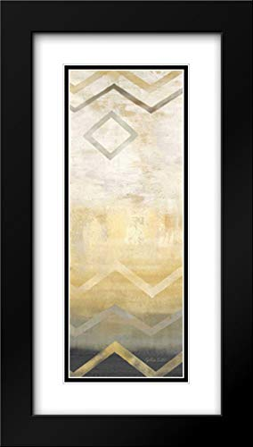 Abstract Waves Black-Gold Panel I 11x24 Black Modern Frame and Double Matted Art Print by Coulter, Cynthia