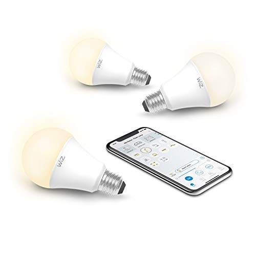 WiZ IZ0026023 60 Watt EQ A19 Smart WiFi Connected LED Light Bulbs Compatible with Alexa and Google Home, no Hub Required, Dimmable Soft White, 3 Piece