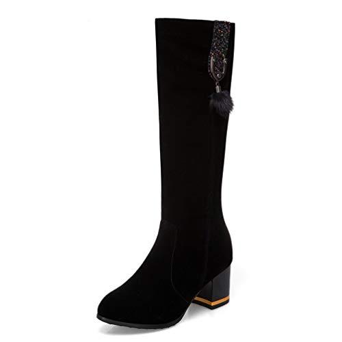 - DETAWIN Women Chunky High Heels Boots Side Zip Fashion Pointed Toe Block Slip On Mid Calf Boots