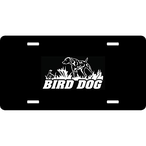 - URCustomPro Bird Dog Pointer Hunting Decorative Funny Humor Auto Car Front Tag Sign Aluminum Metal License Plate Cover 12 x 6 Inch 4 Holes