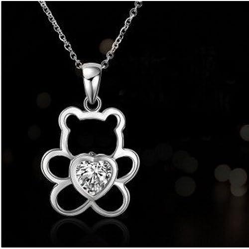 0c5702b53fbf findout Rodio plateado 925 circones cúbicos de plata de ley cristal blanco  Winnie the Pooh collar