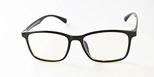 Blue Light Blocking Glasses by EYES PC, Style 712 Black, 0.0 Power. Reduce Digital Eyestrain. Blue Light Blocking up to 100% of Hazardous HEV Blue Light from LED Screens. Reduces Digital Eye Strain. (Antireflective Film Tv)