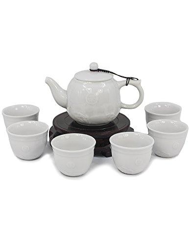 Dahlia Embossed Sea Wave Celadon Porcelain Gongfu Tea Gift Set Teapot + 6 Teacups in Box Lavender