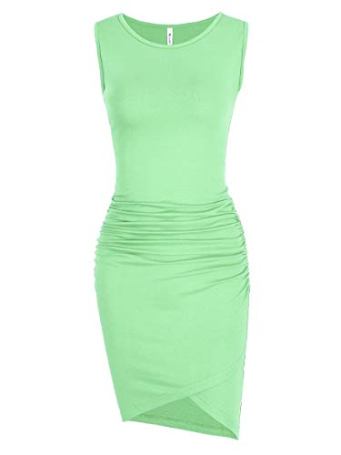 - Missufe Women's Casual Ruched Bodycon Sundress Irregular Sheath T Shirt Dress (Sleeveless Light Green, Large)